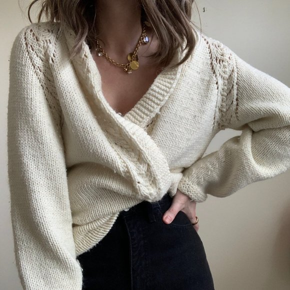 Vintage Sweaters - Ivory Chunky Knit Open Duster Cardigan